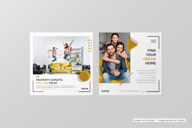 Top view square flyer mockup Free Psd