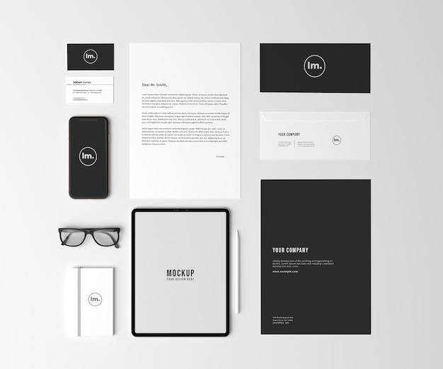 Top view stationery and branding mockup design Premium Psd