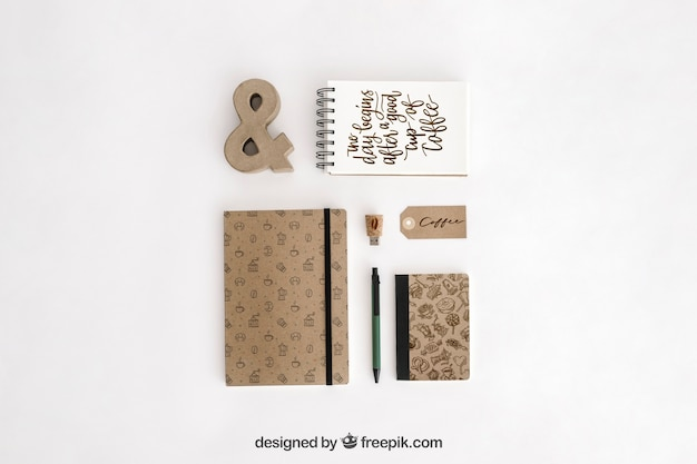 Top view stationery concept with office supplies Free Psd