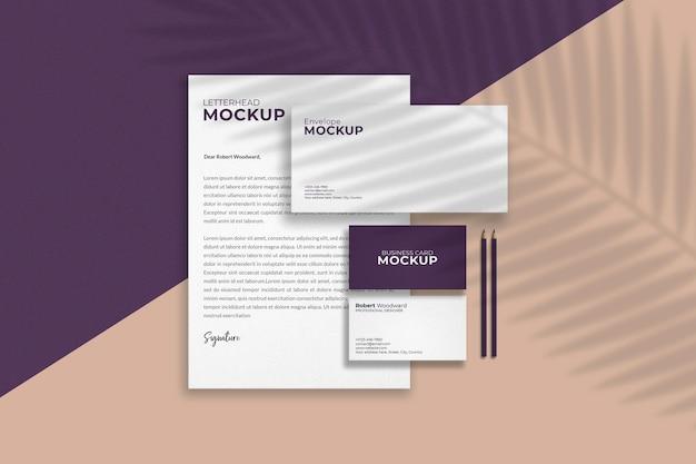 Top view stationery items mockup design Premium Psd