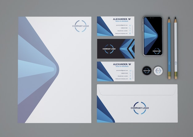 Top view stationery mockup Free Psd
