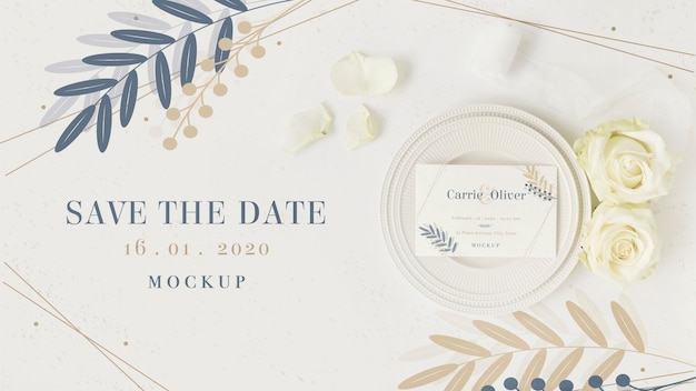 Top view stationery save the date with mock-up Free Psd
