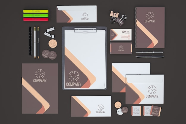 Top view stationery showroom Free Psd