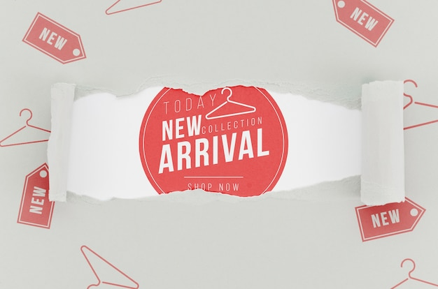 Top view store new arrival mock-up on paper Free Psd