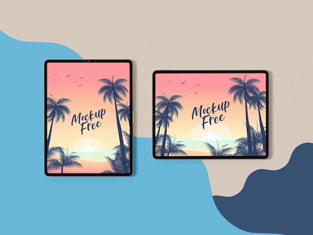 Top view summer concept with tablets Free Psd