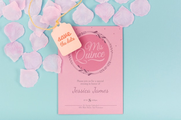 Top view sweet fifteen birthday invitation Free Psd