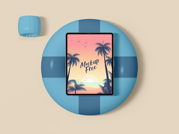 Top view tablet on lifeline Free Psd