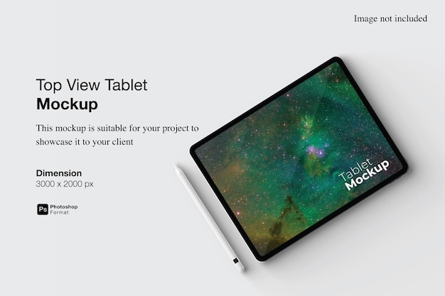 Top view tablet mockup design isolated Premium Psd
