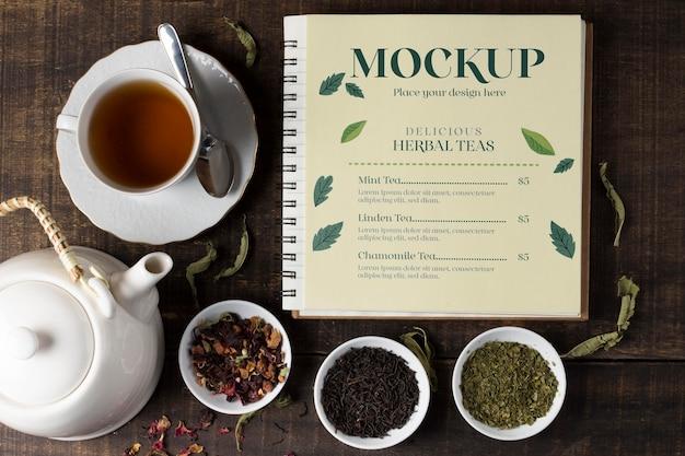Top view of tea concept mock-up Premium Psd