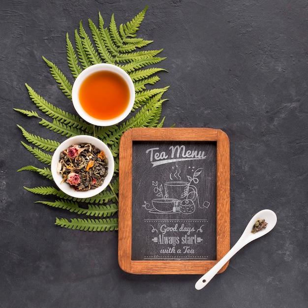 Вид сверху чайное меню с травами и специями Бесплатные Psd