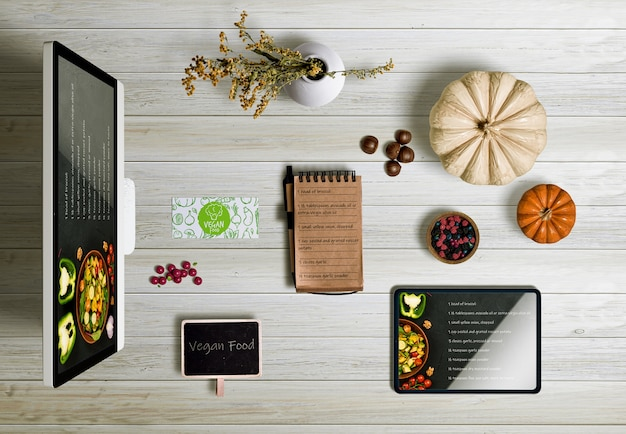 Top view of thanksgiving concept on wooden table Free Psd
