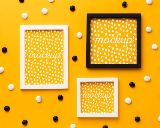 Top view of three mock-up frames with decorations Free Psd