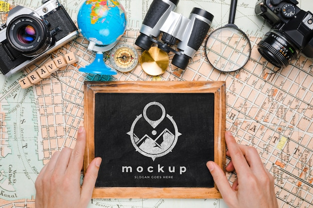 Top view of traveling essentials with frame mock-up Free Psd