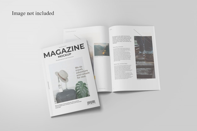 Top view two magazine mockup Premium Psd