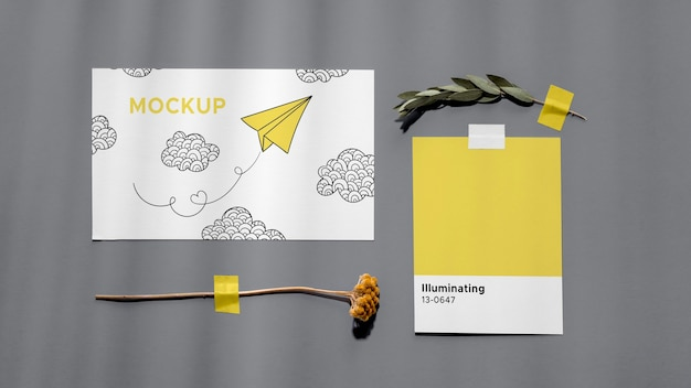 Top view ultimate gray and illuminating elements composition Premium Psd