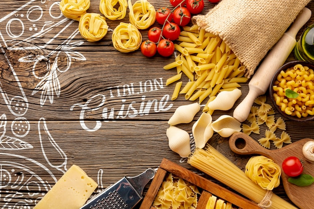 Top view uncooked penne and tomatoes on hand drawn background Free Psd