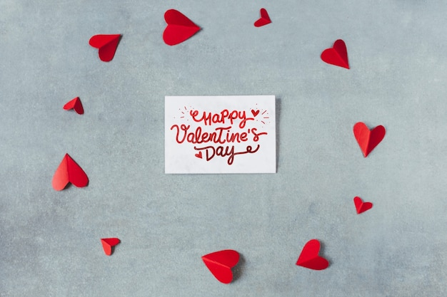 Top view valentines day card mockup Free Psd