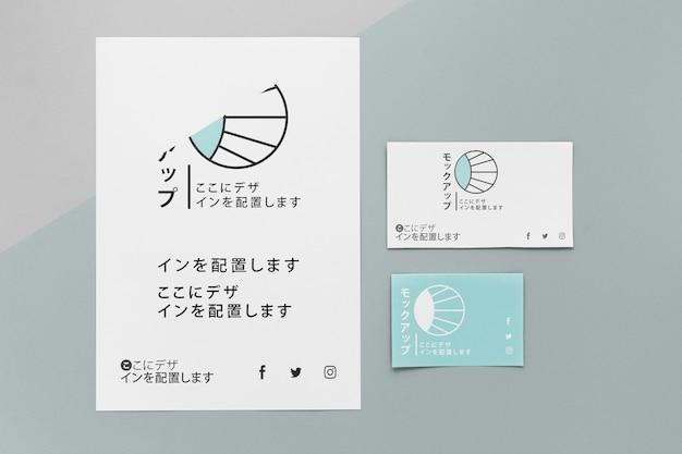 Вид сверху различных японских макетов документов Бесплатные Psd