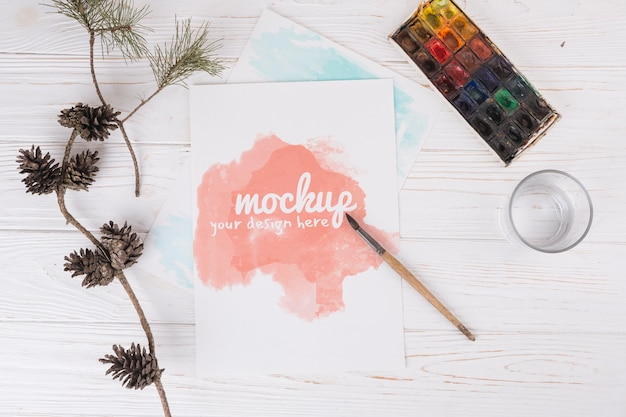 Top view watercolor painting Free Psd
