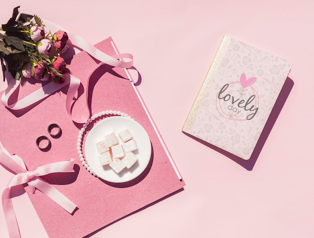 Top view wedding ideas with wedding journal Free Psd