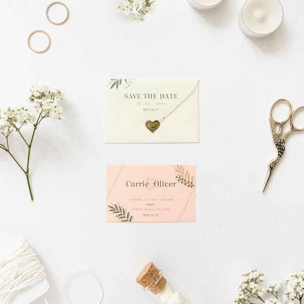 Top view wedding invitation with mock-up Free Psd