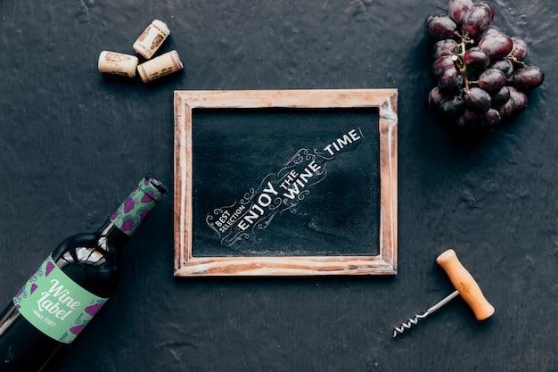 Top view wine mockup with slate Free Psd