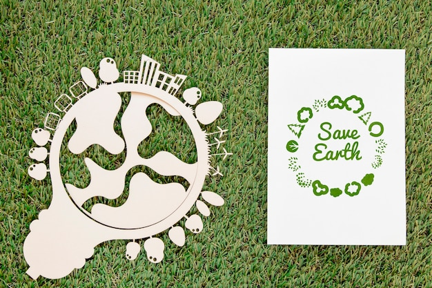 Top view world environment day event Free Psd