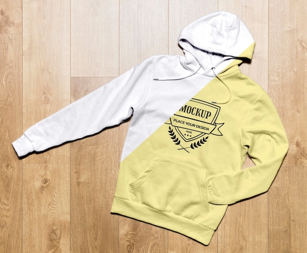 Top view yellow hoodie mock-up Free Psd