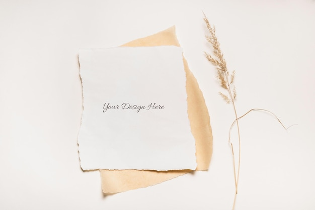 Torn paper mockup isolated with dried grass Premium Psd