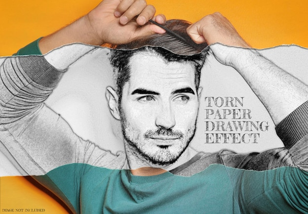 Torn rolled paper with pencil drawing photo effect Premium Psd