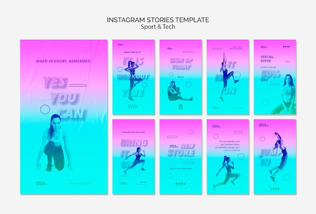 Total workout instagram stories template Free Psd