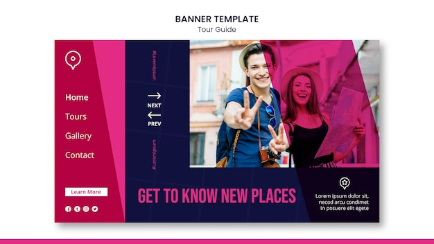 Tour guide banner template Free Psd