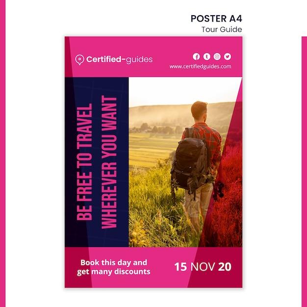 Tour guide poster template Premium Psd