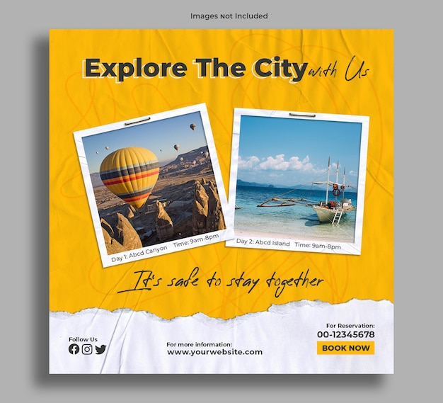 Tour package of exploring city banner post Premium Psd