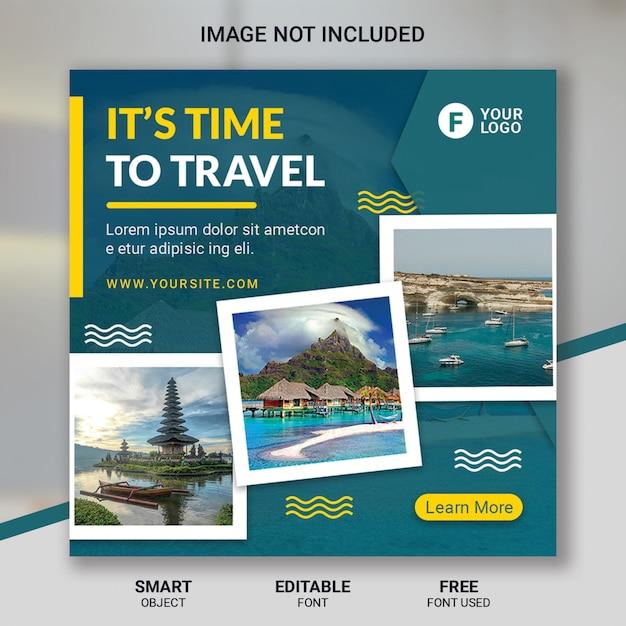 Tour travel social media post template Premium Psd