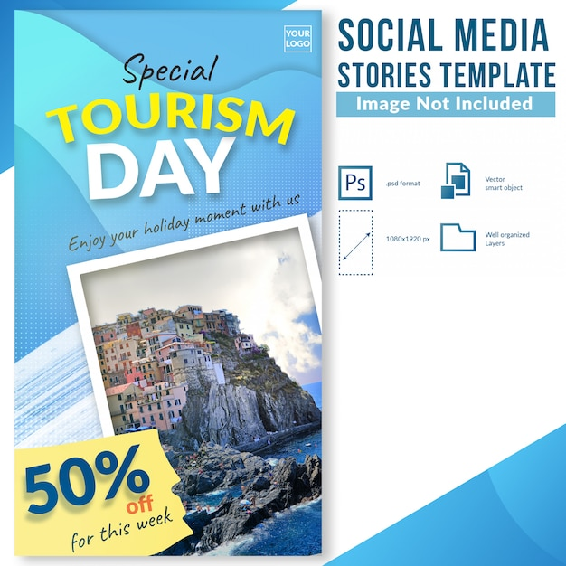 Tourism day travel discount offer social media stories template Premium Psd