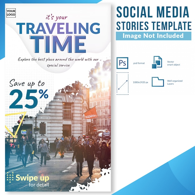 Tourism day traveling discount offer social media stories template Premium Psd