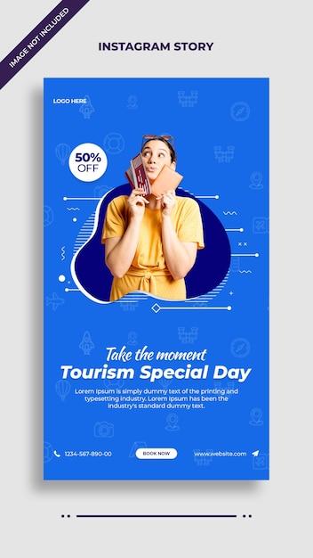 Шаблон поста в instagram и facebook для особого дня туризма Premium Psd