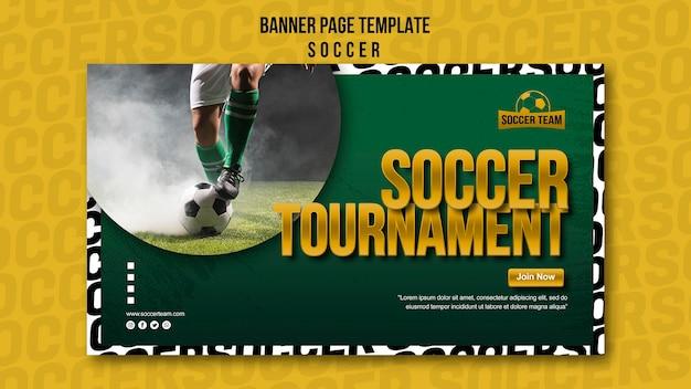 Tournament school of soccer banner template Free Psd