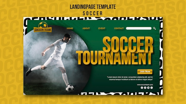 Tournament school of soccer landing page template Free Psd