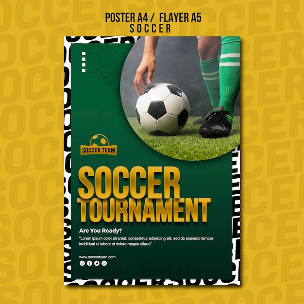 Tournament school of soccer poster template Free Psd