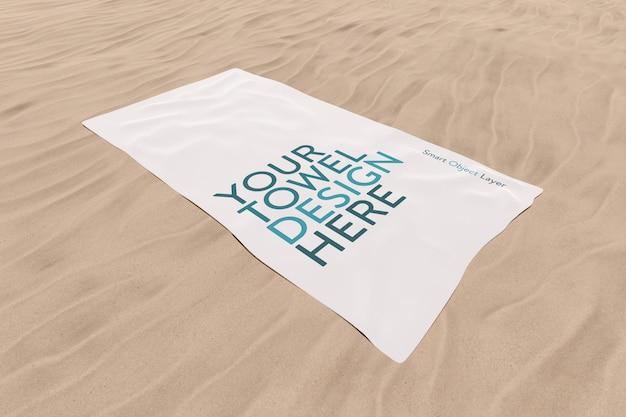 Полотенце на песке макет Premium Psd