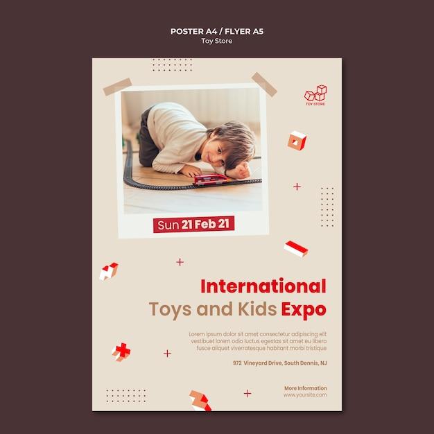 Шаблон рекламного плаката магазина игрушек Бесплатные Psd