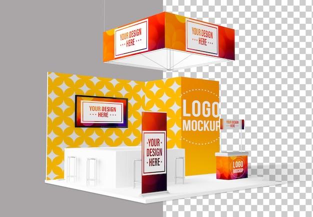 Mockup triển lãm đứng độc lập màu xam,  mockup cao cấp Psd