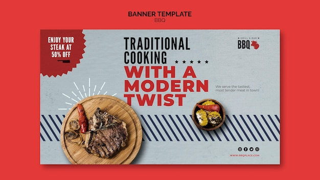 Traditional cooking bbq banner template Free Psd