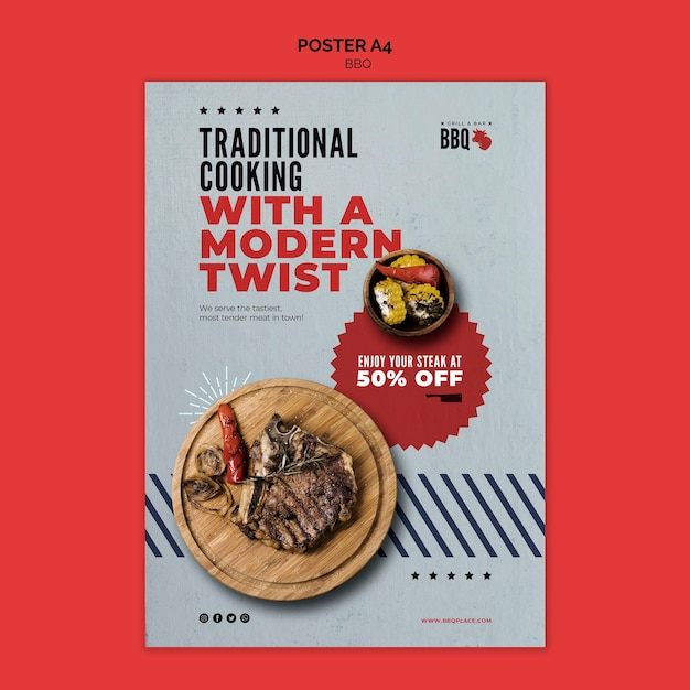 Traditional cooking bbq flyer template Free Psd
