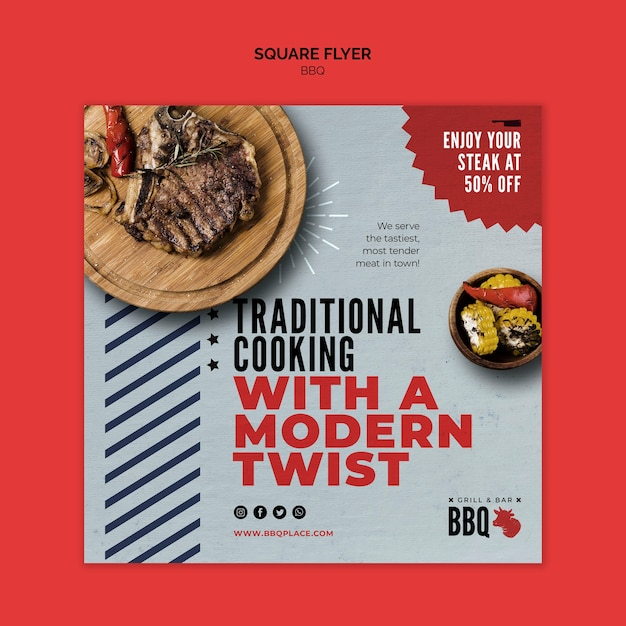 Traditional cooking bbq square flyer template Free Psd