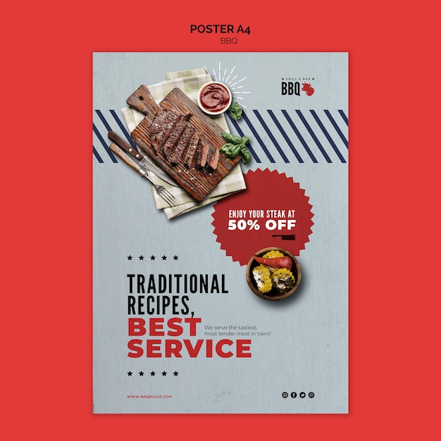 Traditional recipes bbq flyer template Free Psd