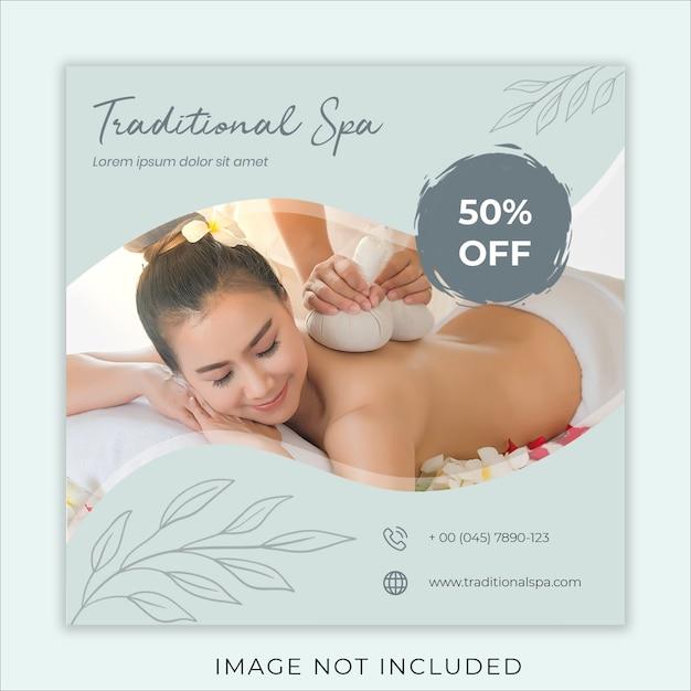 Traditional spa social media banner template Premium Psd