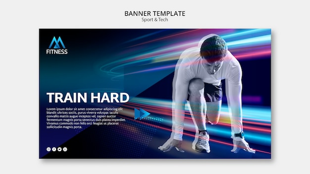 Train hard colorful banner template Free Psd